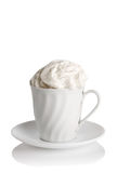 White Cup of coffee with whipped cream Stock Photography