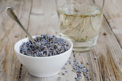 A white cup of dried lavender with stainless tea spoon Royalty Free Stock Photo