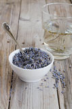 A white cup of dried lavender Royalty Free Stock Images