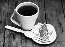 White cup and euro money, romantic  beautiful morning Royalty Free Stock Photo