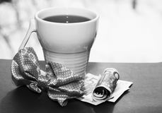 White cup and euro money, romantic Royalty Free Stock Photography
