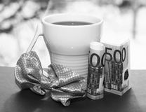 White cup and euro money, romantic Royalty Free Stock Photos