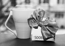 White cup and euro money, romantic. And beautiful photo Stock Photos