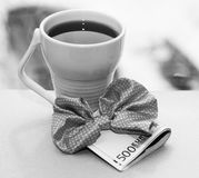 White cup and euro money, romantic. And beautiful photo Royalty Free Stock Photo