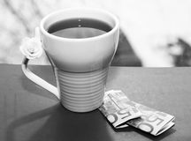 White cup and euro money, romantic. And beautiful photo Stock Photography