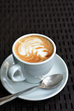 White Cup Of Foamy Cappuccino On A Black Background Stock Photos