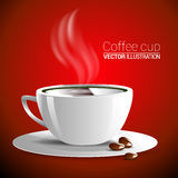 White cup of fragrant hot coffee on a red background  illustration. Royalty Free Stock Image