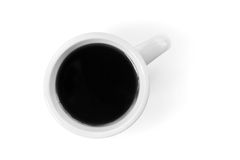 White cup full of black coffee stands on table Stock Photography