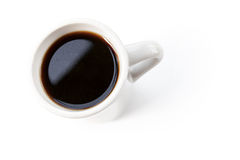 White cup full of black coffee stands on table Stock Images