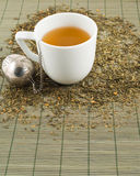 White cup of green tea Stock Photo
