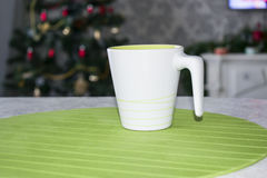 White Cup with handle for tea Royalty Free Stock Photo