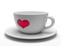 White cup with heart. Isolated Royalty Free Stock Image
