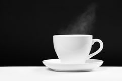 White cup with hot beverage Stock Photo