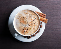 White cup of hot cappuccino Royalty Free Stock Photos