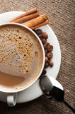 White cup of hot cappuccino Stock Photography