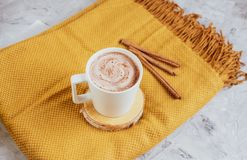 White Cup of Hot Chocolate, Yellow Plaid, Leaves, Gray Background, Autumn Concept royalty free stock photos