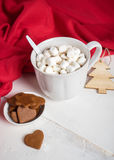 White cup of hot cocoa with marshmallows Royalty Free Stock Image