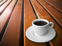 White cup of hot coffe Stock Photography