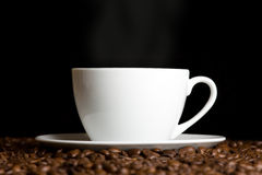 White cup with hot coffee Royalty Free Stock Photo