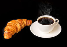 White cup of hot coffee with french croissant Stock Images