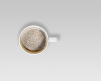 White Cup of Hot Coffee on Gray Background. Stock Photography