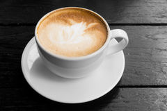 White cup of hot coffee latte Stock Photography