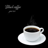White cup with hot coffee and steam on black background Royalty Free Stock Image