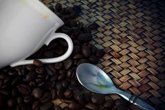 White cup of hot coffee and tea spoon with fresh c Stock Photos