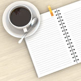 White cup of hot coffee and white sketch book Royalty Free Stock Photo