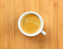 White cup of hot espresso coffee on wood table, background Stock Photography