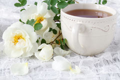 White Cup of hot herbal tea. Vintage tablecloth. Branches of wil. D rose Stock Image