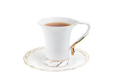 White cup of hot tea. Isolated on white background Stock Image