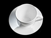 White cup isolated on black background Stock Photo