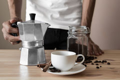 White cup and italian coffee pot Royalty Free Stock Images