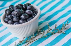 A Cup Of Juicy Blueberries At A Bright Blue Stripy Background. A white cup with juicy blueberries at the stripy blue-and-white background stock photos