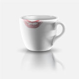 White cup with lipstick print Stock Image
