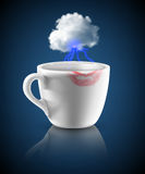 White cup with lipstick print Royalty Free Stock Photo