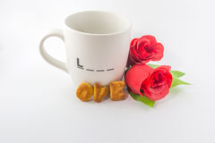 White cup of love Royalty Free Stock Images