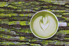 White cup of matcha green tea latte art with foam on rustic moss wooden table with copy space stock photography