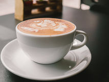 White cup of Mocha. Hot coffee latte art. White cup of Mocha Stock Image