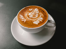 White cup of Mocha. Hot coffee latte art. White cup of Mocha Royalty Free Stock Photo