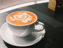 White cup of Mocha. Hot coffee latte art. White cup of Mocha Royalty Free Stock Photos