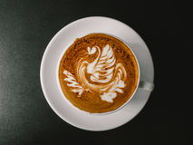 White cup of Mocha. Hot coffee latte art. White cup of Mocha Royalty Free Stock Photography