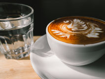 White cup of Mocha. Hot coffee latte art. White cup of Mocha Stock Photos