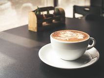 White cup of Mocha. Hot coffee latte art. White cup of Mocha Stock Photo