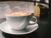 White cup of Mocha. Hot coffee latte art. White cup of Mocha Royalty Free Stock Images