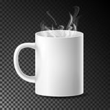 White Cup, Mug Vector. Realistic Ceramic Or Plastic Cup On Transparent Background. Empty Classic Cafe Cup With. Handle And Steam Illustration Stock Illustration