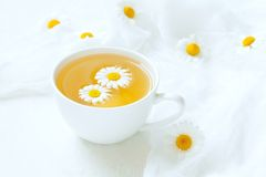 White cup of natural healthy chamomile herb tea Royalty Free Stock Photography