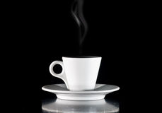 White Cup Of Coffee On A Black Background Stock Photography
