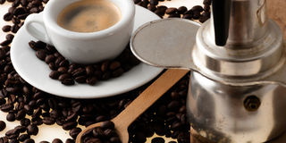 White cup with old Neapolitan coffee Royalty Free Stock Photography